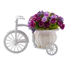 Idyllic Home Furnishings Simulation Flower And Car Suit, Bicycle Knitted Basket, Fake Diamond Rose Purple