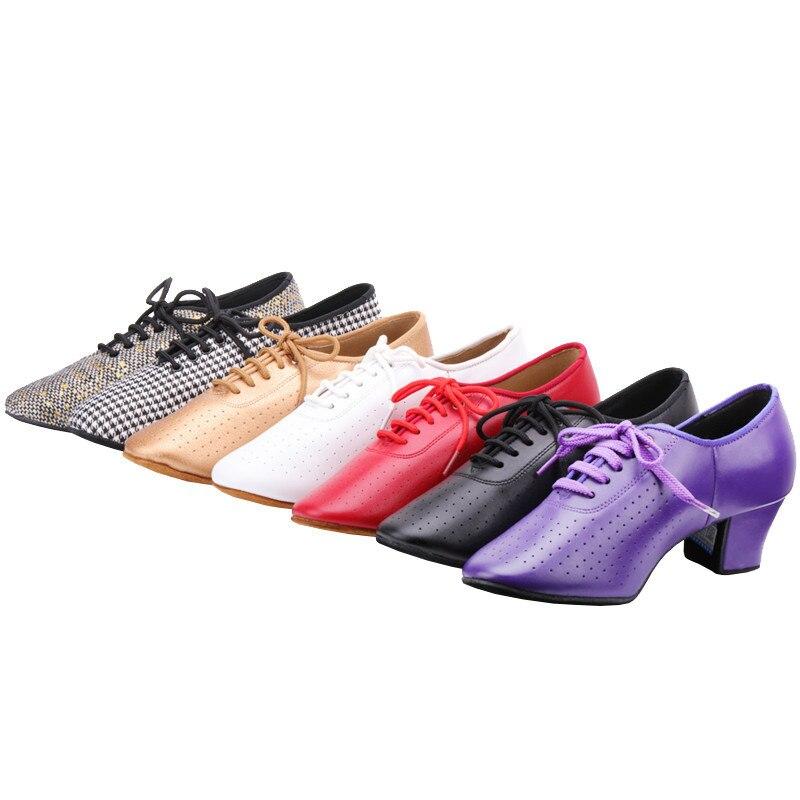 5CM Heel Natural Leather Women's Tango Flamenco Dance Shoes Teacher's Shoe Girls Waltz Tango Foxtrot Quick Step Dance Shoes