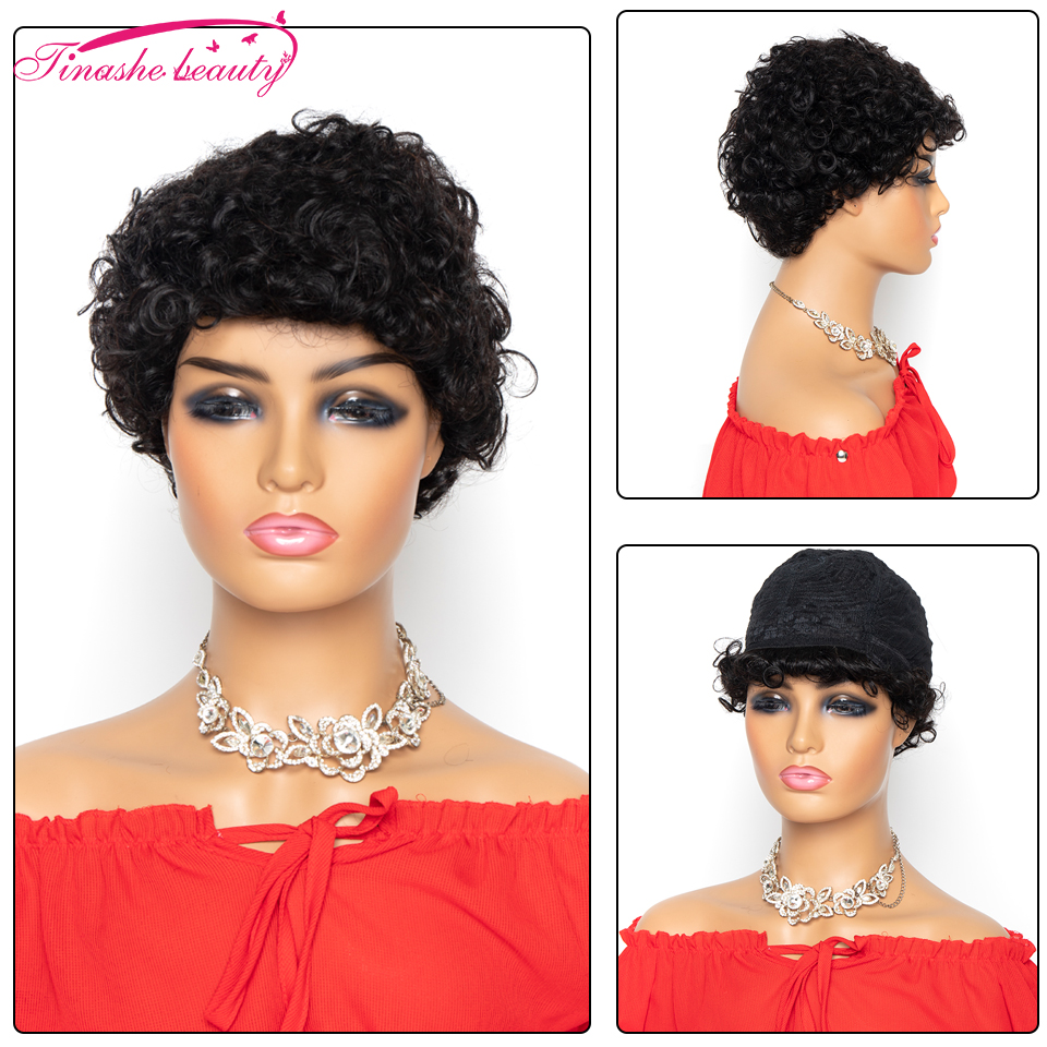 Tinashe Beauty Short Curly Human Hair Wigs Peruvian Remy Hair Water Wave Bob Wig For Black Wome Machine Made Wig Natural Color