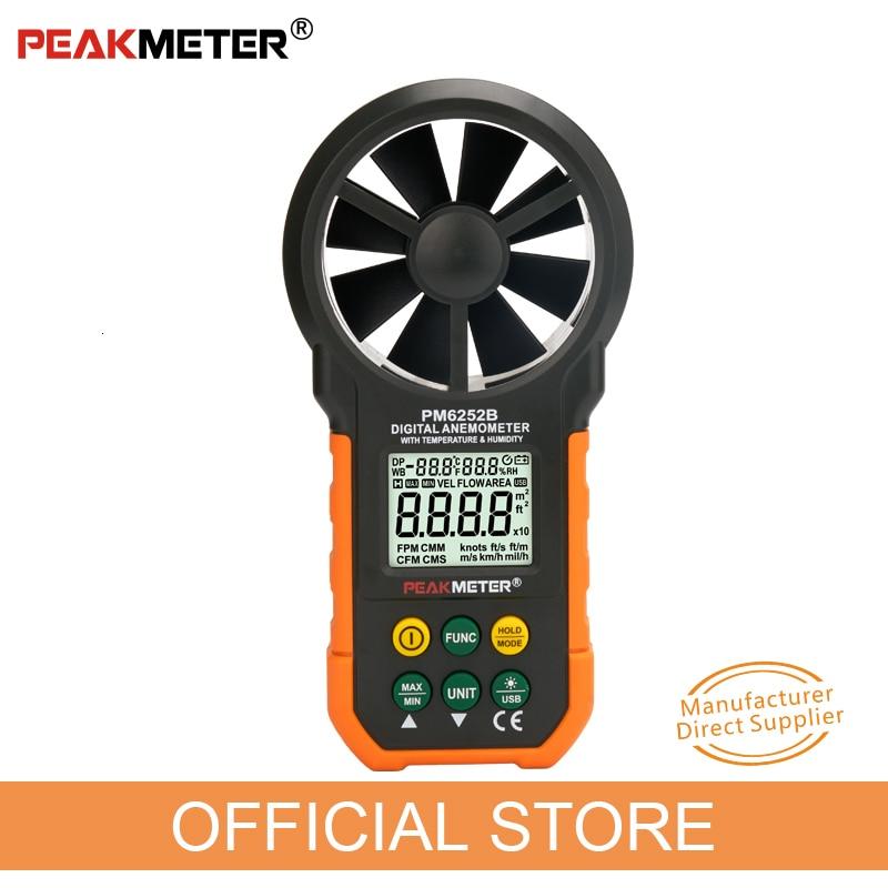 PEAKMETER Digital Anemometer Air Speed Wind Speed Measurement Velocity Air Flow Meter Temperature Humidity LCD Sceen MS6252B