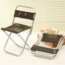 Camouflage Foldable Backrest Chairs Stool Metal Canvas Porta