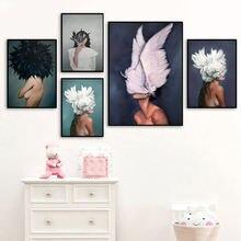 Цветы перья Женская Абстрактная Картина на холсте Настенная