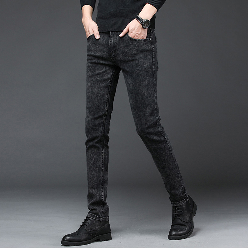 2020 New Arrival Men's Denim Jeans Straight Full Length Pants with High Elasticity Slim Pants Man Fashion Mid-waist Jeans men 4