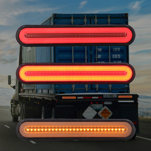 Image 3 - 2x LED Trailer Truck Brake Light 3 in1 Neon Halo Ring Tail Brake Waterproof Stop Turn Light Sequential Flowing Signal Light Lamp