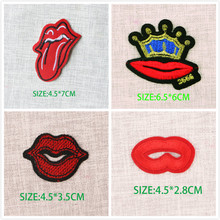 цены Sexy Lips and Tongue Embroidery Patches DIY Iron on Patches For Clothing Applique For Washable Stickers Appliques Badge