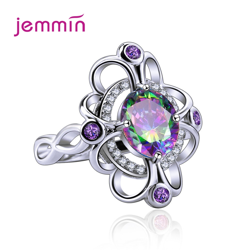 925 Sterling Silver Chunky Statement Ring Mystic Rainbow Cubic Zirconia Crown Jewelry For Women Girl Wedding Party Accessories