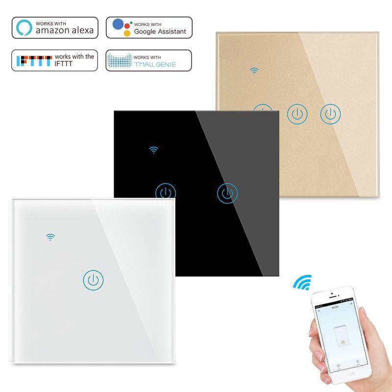 Wifi Smart Switch EU 1/2/3 Gang,220V Remote Control Smart Light Switch APP Control Work with Google Home Alexa Assistant