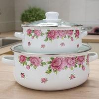 Enamel Soup Pot Flat Cooker 2 5L Thick Pot with Lid Cooking Pot Cookware Induction Pot Pot of Soup Kitchen Pots and Pans