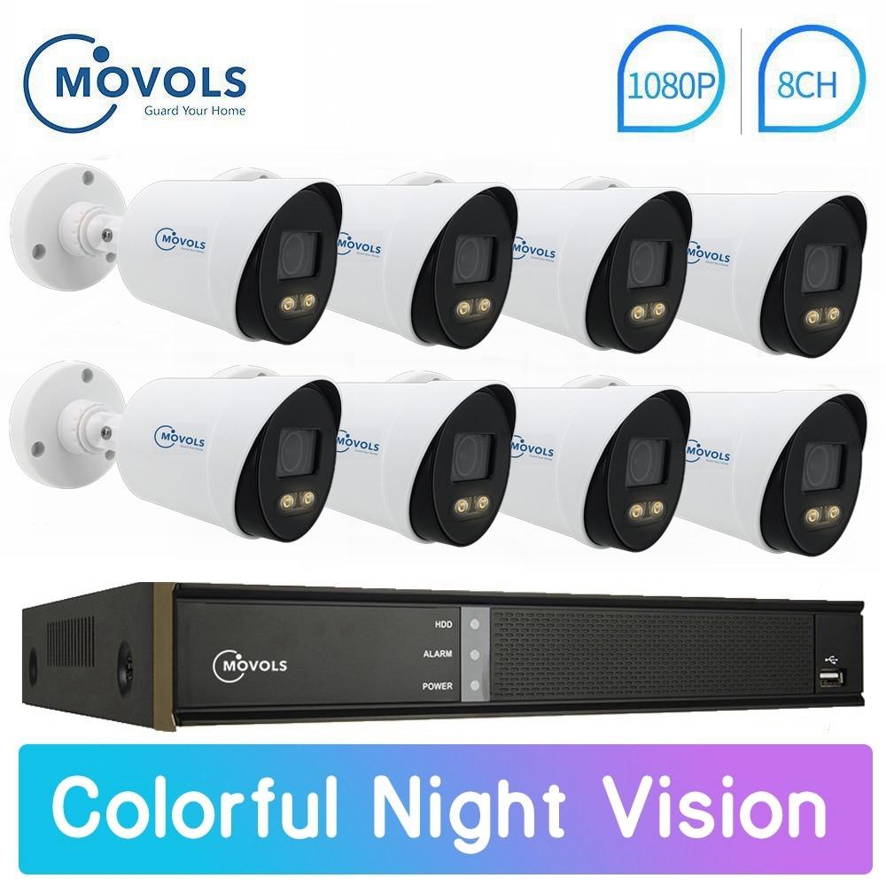 Movols 2mp colorido visão noturna cctv ahd kit câmera de vigilância de vídeo ao ar livre 8ch dvr sistema de câmera de segurança à prova dwaterproof água conjunto