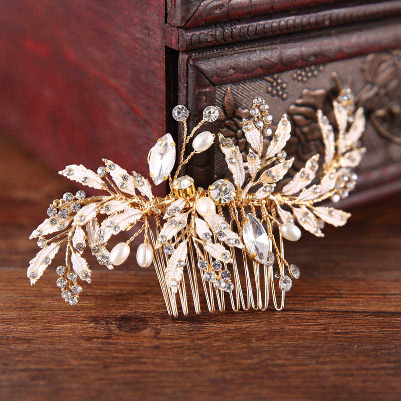 Gold Crystal Beads Plant Leaf Handmade Bridal Hair Comb Hair Sticks Wedding Bride Hairpin Headpiece Hair Jewelry Accessories  SL