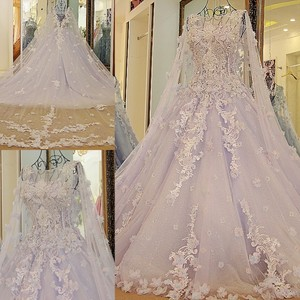 Image 4 - LS54770 New arrival long engagement dresses with long cape ball gown corset back long eveing gowns kleider lang elegant 2018