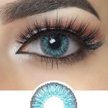 3 тон серии блестящие синие цветные контактные линзы