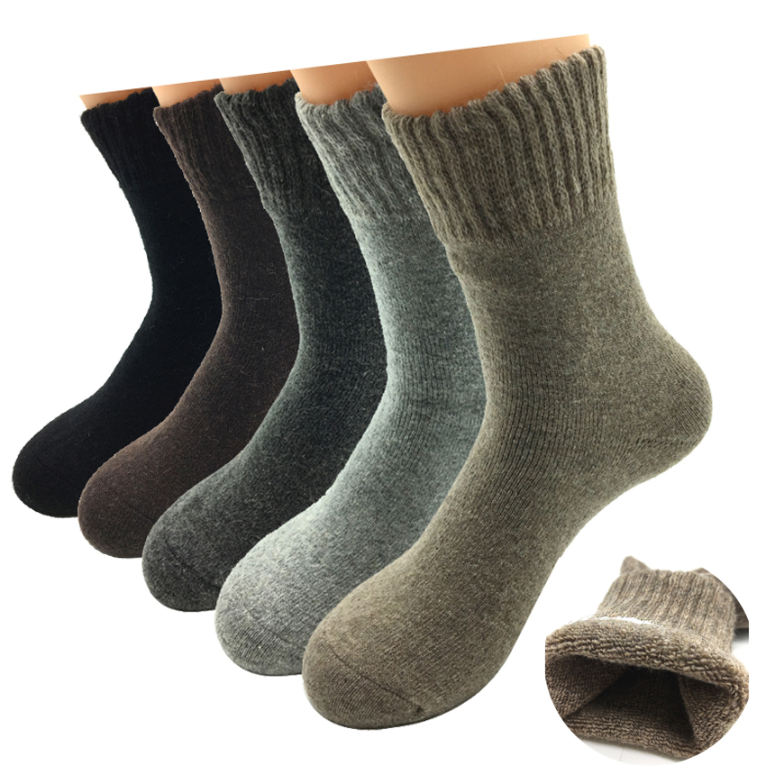 5 Pairs/Lot Thick Wool Socks Men Winter Warm Cashmere Breathable Socks Male Meias Hot Sale
