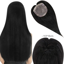 Wig Hair-Extensions Clip-In Remy Natural Straight Moresoo Black-Color Topper Machine-Made