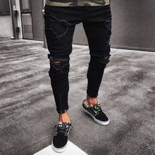 Men Clothes Hip Hop Sweatpants Skinny Motorcycle Denim Pants Zipper Designer Black Jeans Mens broken hole Casual Jogging jeans M(China)