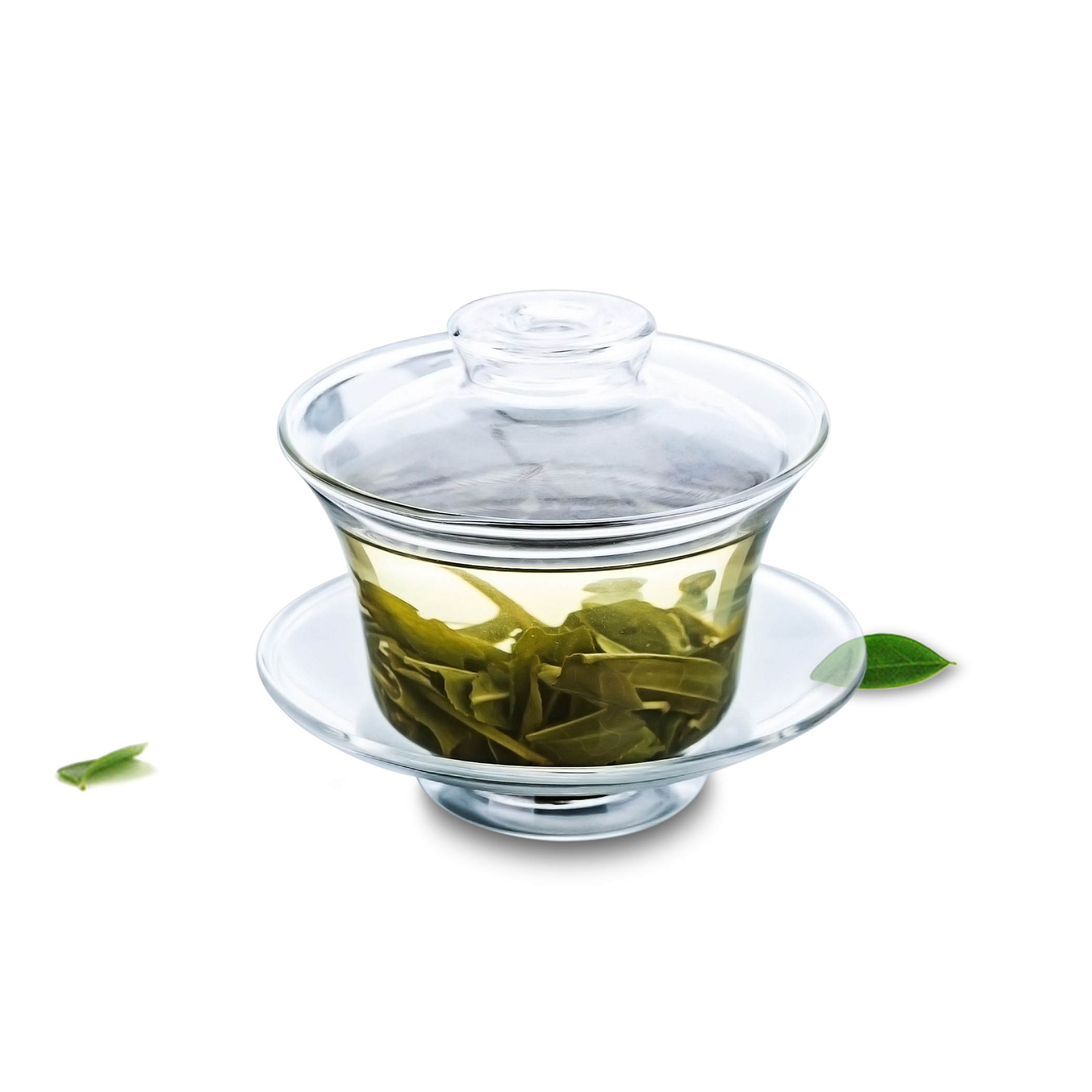 1x High-quanlity Tea Tureen Heat-Resisting Clear Glass Gongfu 165ml Teapot Water Cup Small Tea Pot With Saucer & Lid ( Gaiwan )