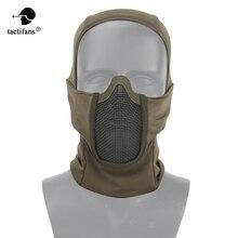 Paintabll טקטי מסכת ברדס גרב מלא פנים פלדת רשת צוואר מגן ציד כובע ירי Airsoft אבזרים