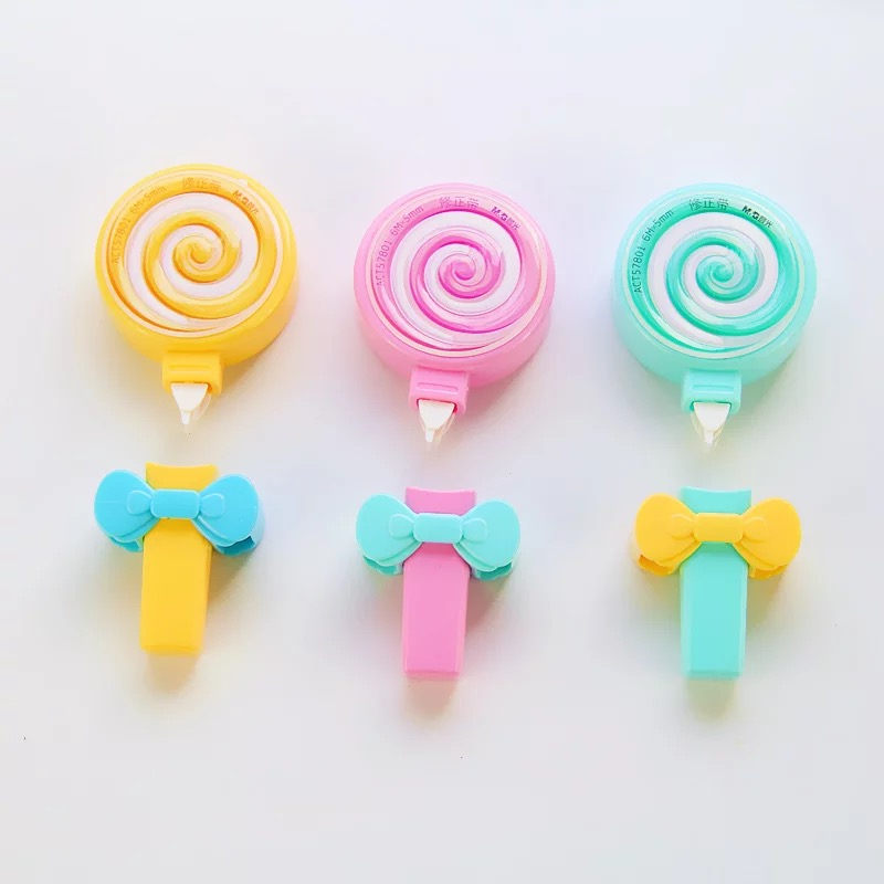 3Pcs Kawaii Cute Candy Lollipop Correction Tape Erasers Corrector School Office Supply Student Stationery Kids Gift