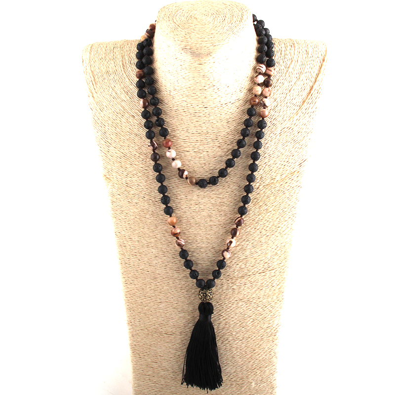 Fashion Bohemian Tribal Jewelry 108 Beads Necklace 8MM Natural Stone Tassel Yoga Necklace For Women Lariat Necklaces