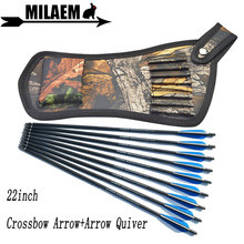 6/12pcs 22inch Archery Crossbow Bolts Carbon Arrow With Quiver Bag Rubber Vanes OD8.8mm Hunting Accessories