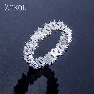 ZAKOL Wedding-Rings Jewelry Stone Baguette Multicolor Cubic-Zirconia Fashion Women Luxury