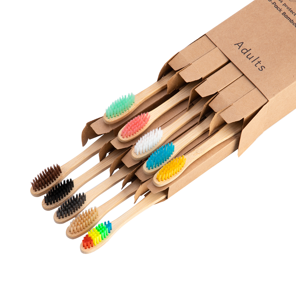 Bamboo Toothbrush Product Travel-Set Wooden Rainbow Eco-Friendly Soft-Fibre Adults Oral-Care title=