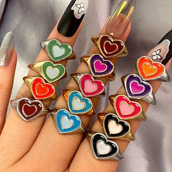 Twórczy prosty kolorowy dwuwarstwowy miłość pierścień z sercem Vintage pierścień z sercem s dla kobiet dziewczyn biżuteria obrączki tanie i dobre opinie CN (pochodzenie) Ze stopu cynku Kobiety Metal TRENDY Obrączki ślubne Zgodna ze wszystkimi Poprawiające nastrój 0629