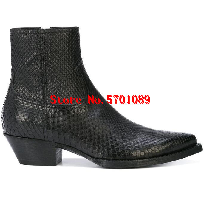 Man Paris Lukas Boots Python Skin Effect Black Leather Pointed Toe Side Zip Pull Tab Stacked Heel Lukas Boots Shoes