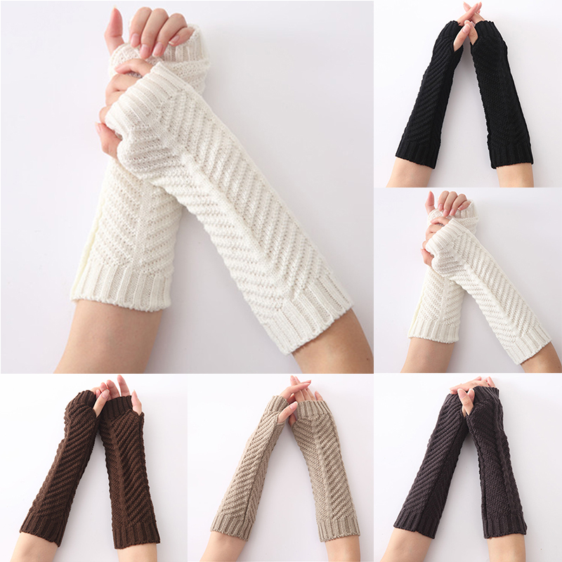 1 Pair Women Girls Knit Arm Sleeve Fingerless Gloves  Fold Pattern Warmer Gloves Winter Autumn Stripe Arm Wrist Sleeve Mittens
