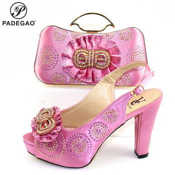 Latest African Matching Shoes and Bag in Pink Color High Quality Italian with Shinning Crystal African Lady Shoes and Bag