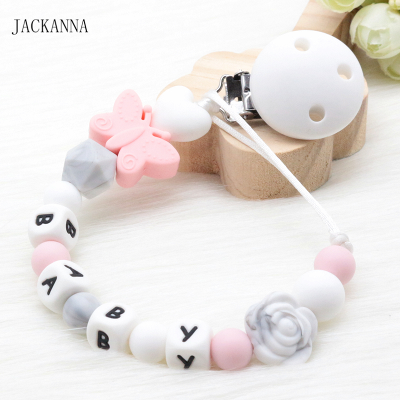 Customized Name Baby Dummy Clips DIY Silicone Soother Holder BPA Free Infant Attache Sucette BPA Free Baby Pacifier Holder Chain