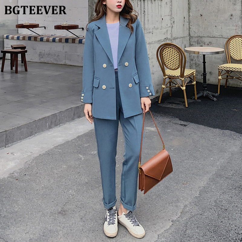 BGTEEVER Fashion Women Blazer Suits Long Sleeve Double- Breasted Blazer Pants Suit Office Ladies Two-piece Blazer Sets 2020