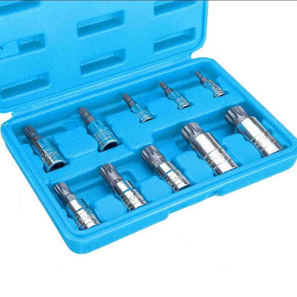 10pcs XZN12 포인트 탬퍼 증거 소켓 어댑터 세트 트리플 스퀘어 스플라인 비트 소켓 핸드 툴 세트
