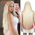 FASHION IDOL Cosplay Wigs For Black Women Long Straight Hair Synthetic Wig 38 Inch Ombre Blonde BIO Hair Lace Wig Free Shipping