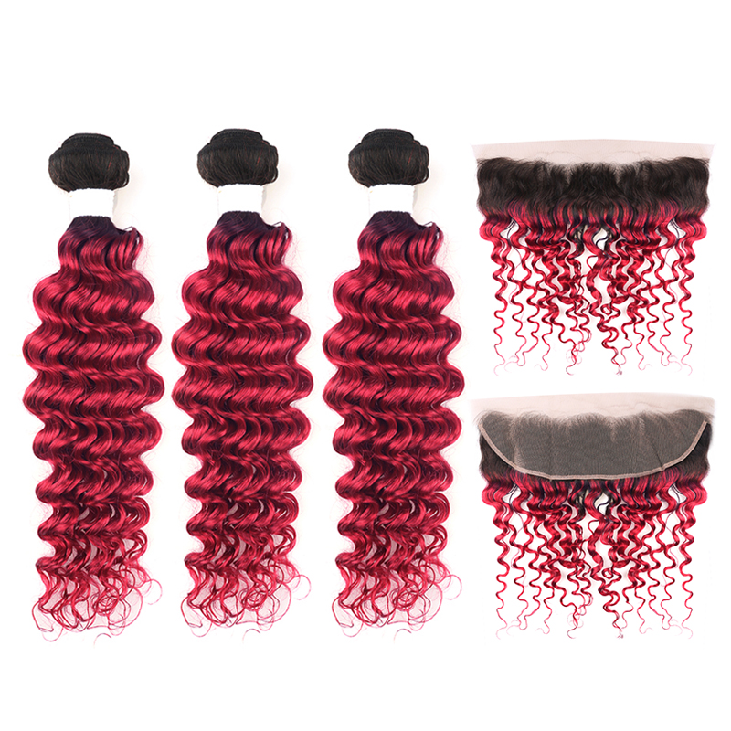 Brazilian Deep Wave Hair Bundles With Closure T1b/99J Burgundy Ombre Red Human Hair Weaving With 13*4 Frontal KEMY HAIR Non-remy