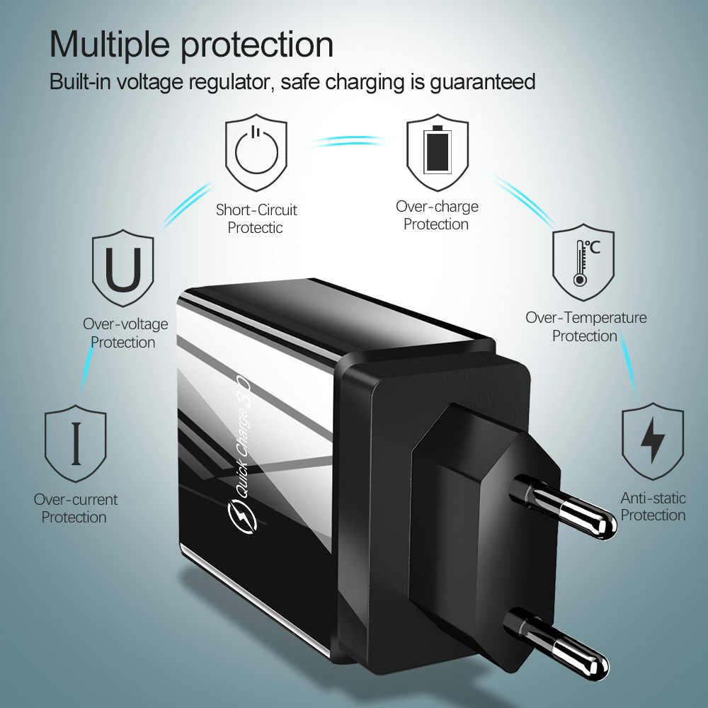 شحن سريع 3.0 USB شاحن آيفون XR X 7 8 هواوي P20 اللوحي QC 3.0 سريع الجدار شاحن الاتحاد الأوروبي التوصيل التكيف لسامسونج A50 A30