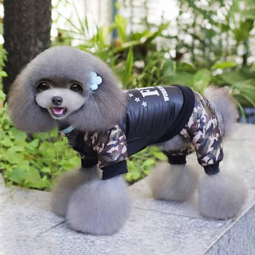 Winter Warm Hond Vier Been Jurk Jas Hond Kleren Fbi-Printing Brief Camouflage Kostuum Jumpsuit Katoenen Jas Jas