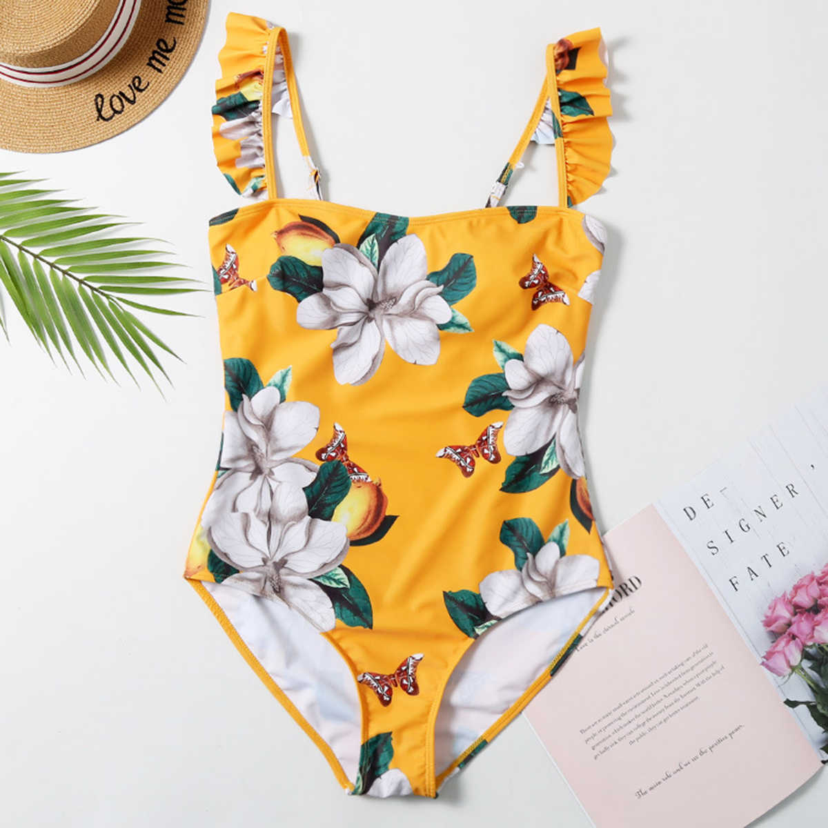 Vrouwen Oranje Dubbele Manier Band Verse Een Stuk Push Up Set Beachwear Badmode Bikini Maillot De Bain femme
