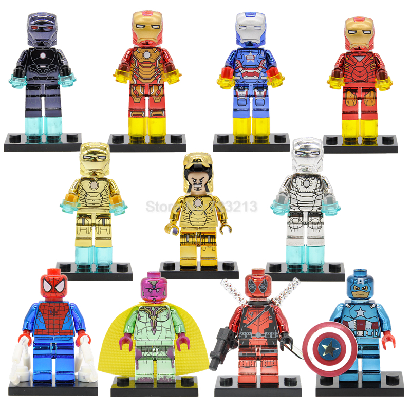 Captain America Chrome Figure Iron Man Vision Deadpool Plating Spider Man Building Blocks Super Hero Model Toys Legoing