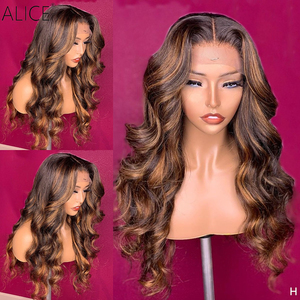ALICE Highlight Wave T-part Lace Front Human Hair Wigs Scalp Top Closure Wigs 150% Density With Baby Hair Non-Remy