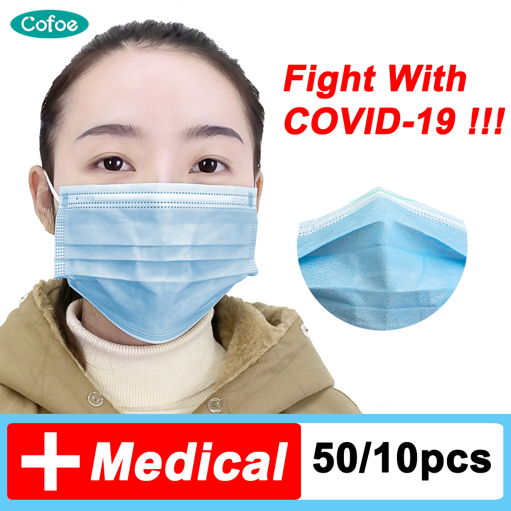 Cofoe Medical Mask Disposable Face Mask 3 Layer 3 Ply Face Mask Surgical Mask Influenza Bacterial Medical Face Masks Dust-Proof