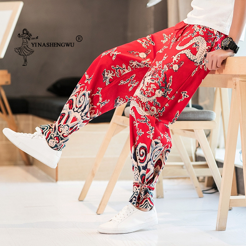 Print Pants Kimono Pants Men Japan Style Casual Thin Trousers Asian Clothing Handmade Plate Buttons Trousers