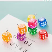 Dice Charms Pendants Jewelry-Material Diy-Accessories Crystal Creative-Keys Mobile Resin