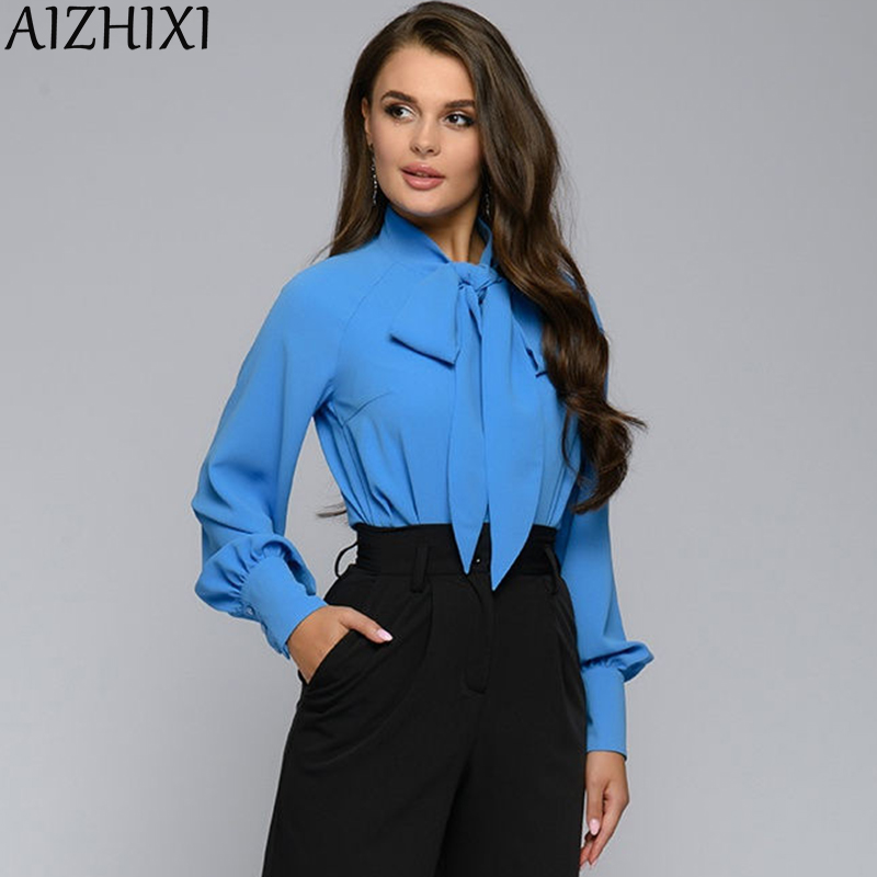 AIZHIXI Ladies Bow Tie Shirt Autumn Lantern Sleeve Casual Tops and Blouses Women Solid Long Sleeve Office Blouse Vintage Blusas