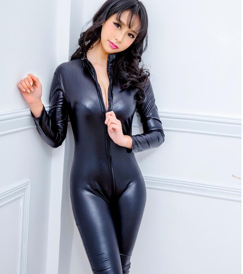 Women Sexy Bodysuit PU Leather Lingerie For Sex Role Play Costumes Erotic Intimate Latex Open Crotch Double Zipper