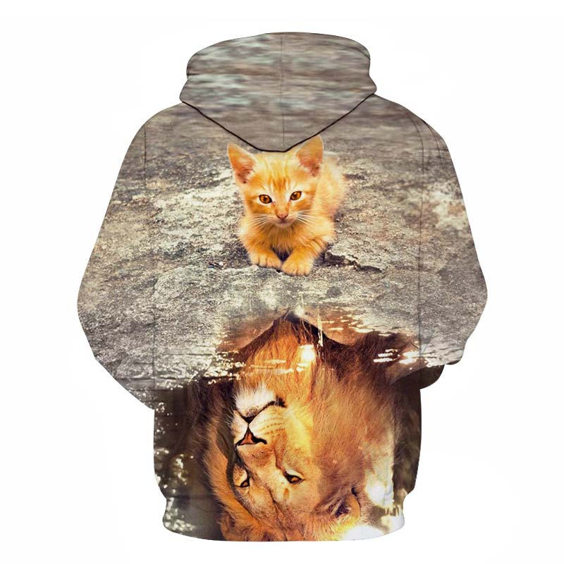 Women's Two Cat Sweatshirts Long Sleeve 3D Hoodies Sweatshirt Pullover Tops Blouse Pullover Hoodie Poleron mujer Confidante Tops 102