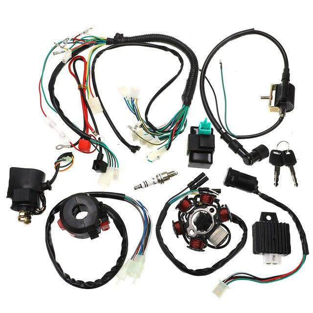 1 juego completo de arnés de cableado eléctrico CDI estator 6 Polo de bobina interruptor de encendido para motocicleta ATV Go Kart 125cc 150cc 250cc