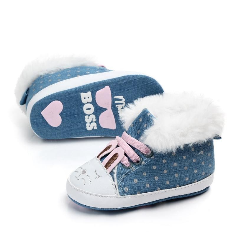 Winter Plus Velvet Baby Shoes Newborn Baby Shoes Girls  First Walker Warm Russian Cartoon Cute Plus Velvet Princess Shoes