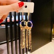 FYUAN Long Tassel Rhinestone Drop Earring for Women Bijoux Gold Silver Color Sequin Dangle Earrings Statement Earrings Jewelry