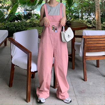 Sweet Cute Wide Leg Pants Women Korean Loose Cartoon Print Pink Overalls Vintage Casual Plus Size 2XL Straight Jumpsuits xuru women cold shoulder wide leg pants jumpsuits female overalls sexy party jumpsuit women s loose plus size jumpsuits